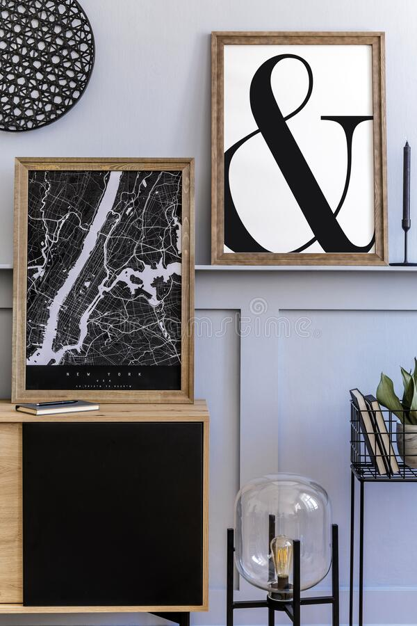 Scandinavian Home Interior Of Living Room With Two Mock Up Poster Frames Wooden Commode Design Black Lamp Plants Decoration Stock Photo Image Of Home Modern 199569664