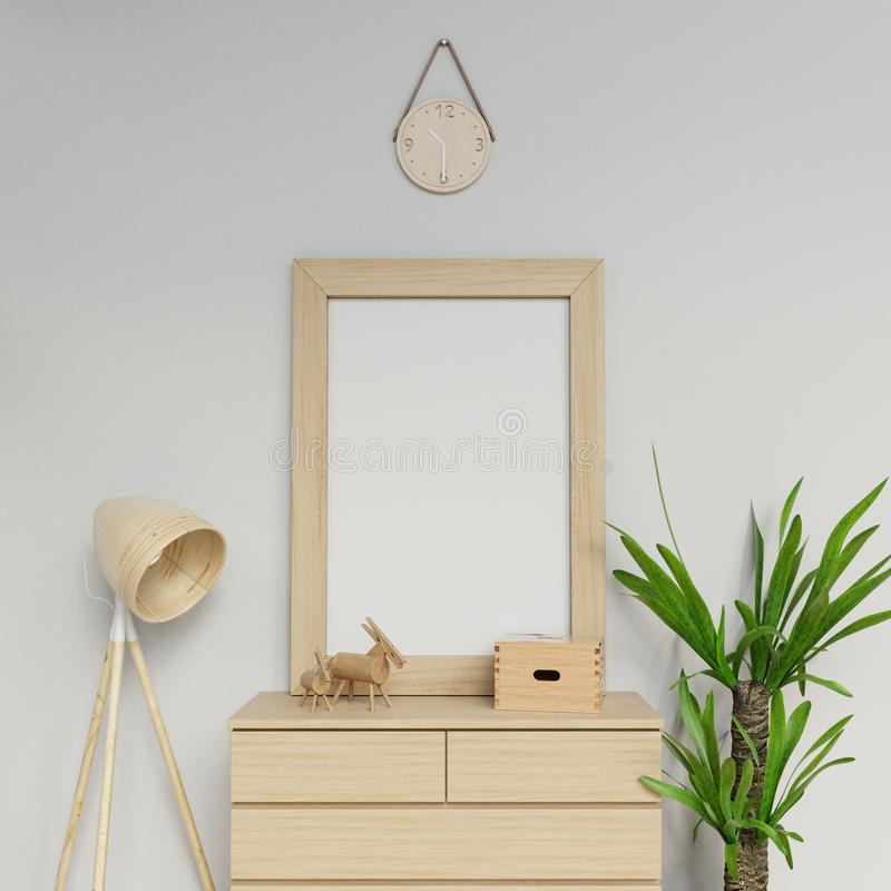 Scandinavian interior 3d render illustration of empty a1 poster mock up template with vertical frame sitting on wooden drawer in royalty free illustration