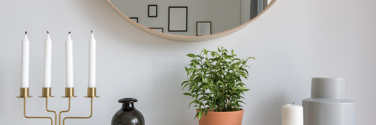 Scandinavian interior with decorative accessories stock images