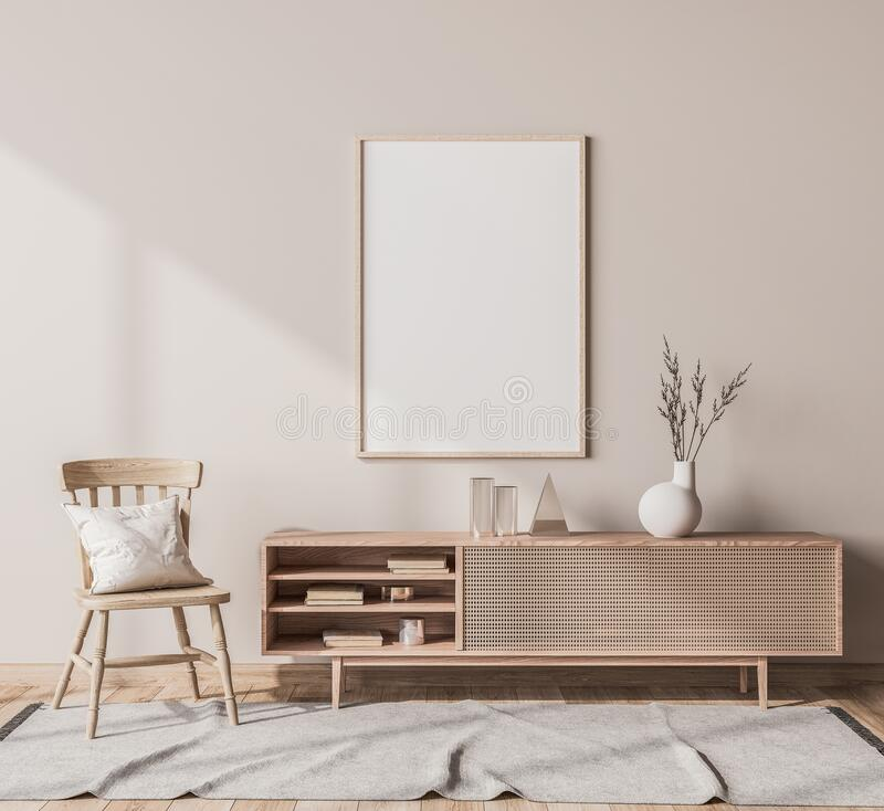 Free Scandinavian Interior Design Of Living Room With Rattan Console, Wooden Chair, Mock Up Poster Frame Stock Photography - 193467882