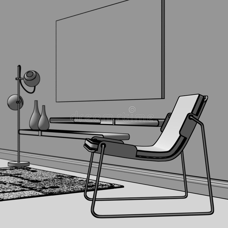 Download Scandinavian Interior Outlined Stock Illustration - Illustration: 3302675