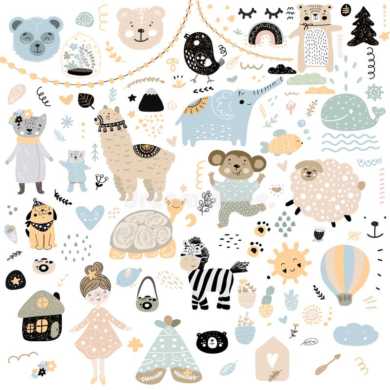 Scandinavian kids doodles elements pattern set color wild animal hand drawn bear lamma cat`s monkey, girl, turtle, lamb, house,. Zebra, sun, face color prey royalty free illustration