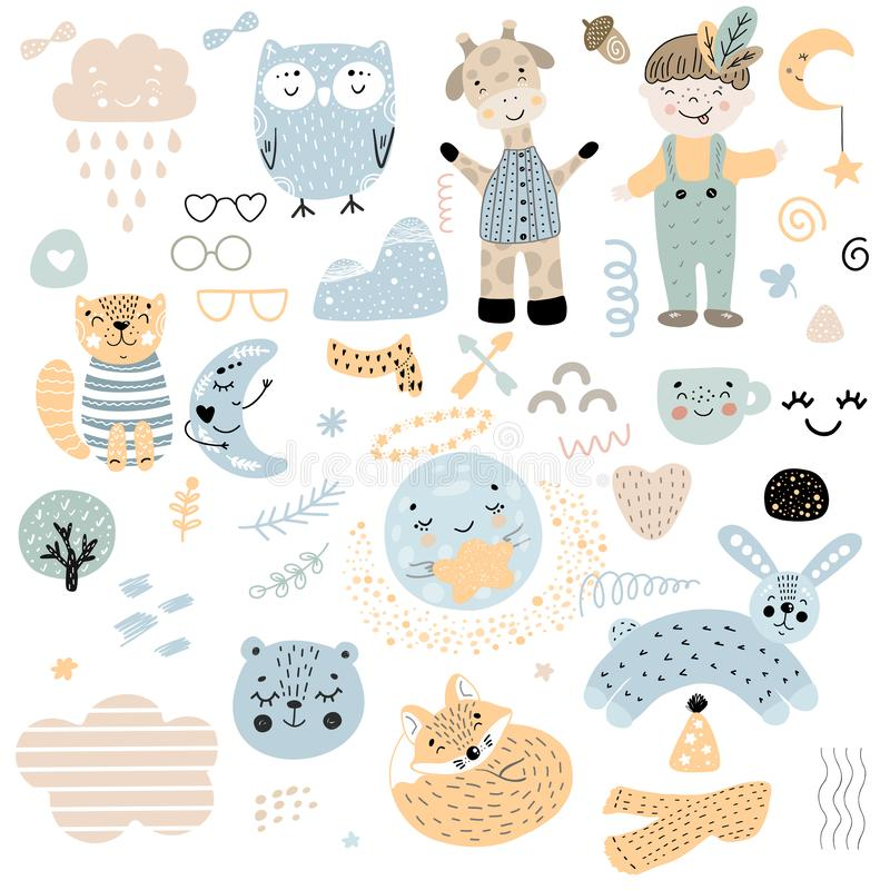 Scandinavian kids doodles elements pattern set color wild animal hand drawn boy cloud caharcters moon fox cat owl giraffe, glasses. Rabbit bear cup yellow vector illustration
