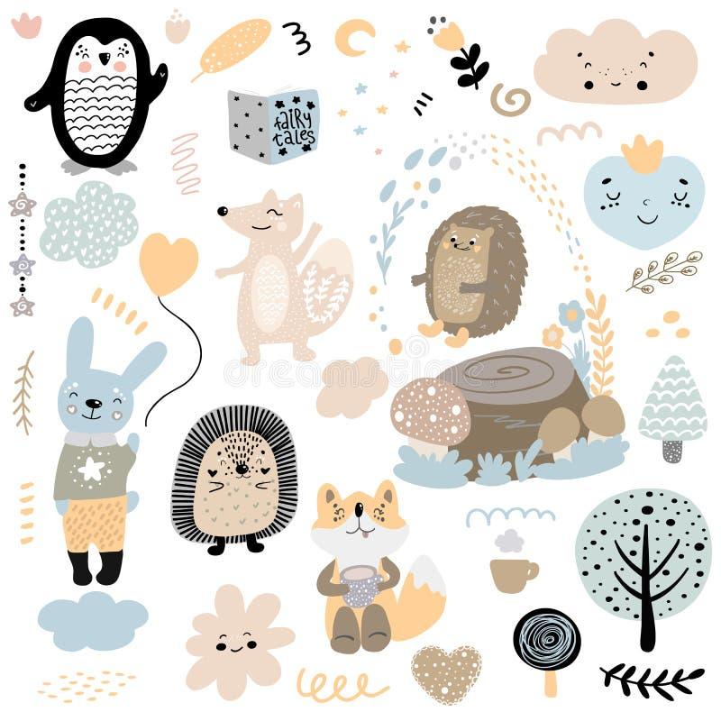 Scandinavian kids doodles elements pattern set of cute color wild animal and characters: penguin, hedgehog, fox, hare, rabbit, stock illustration