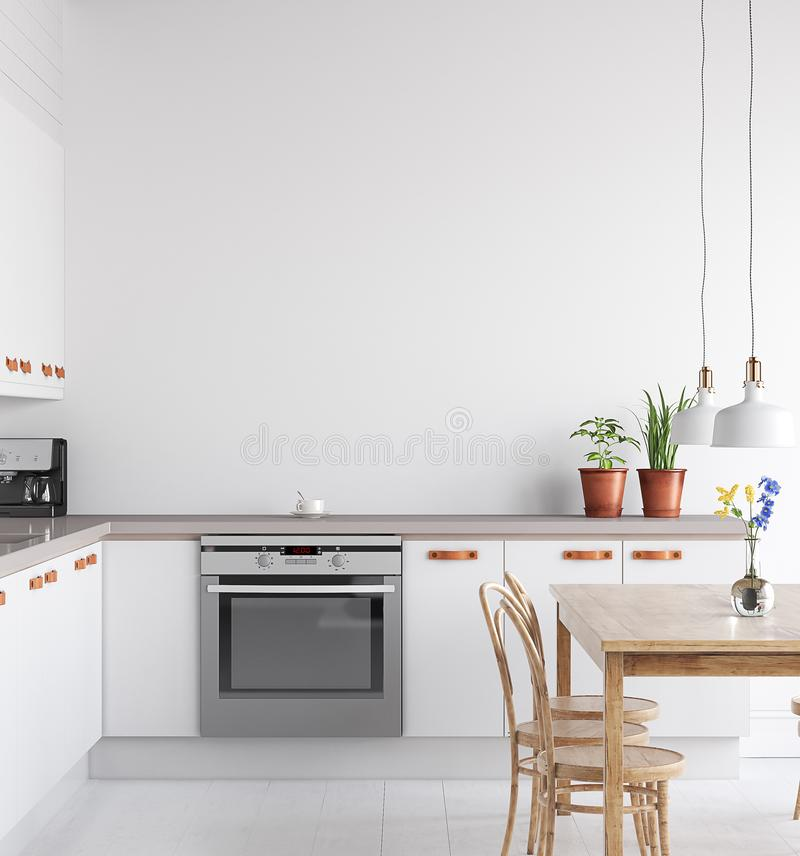 Free Scandinavian Kitchen Interior, Wall Mock Up Stock Photography - 136904352
