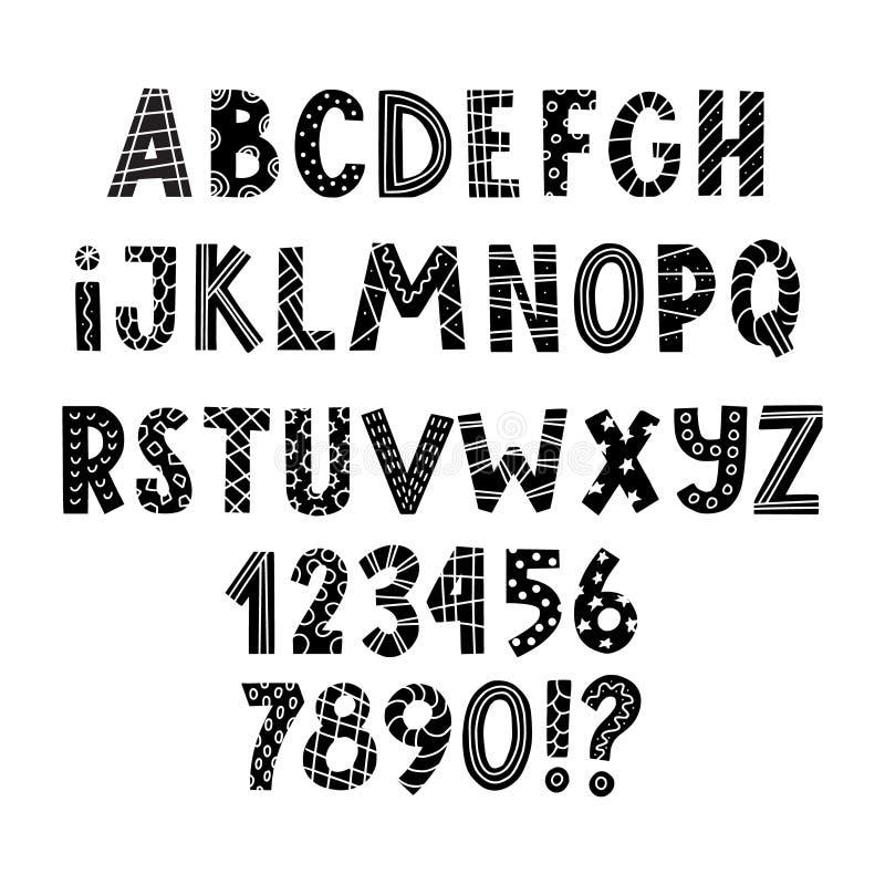 Scandinavian latin alphabet for greeting cards vector illustration