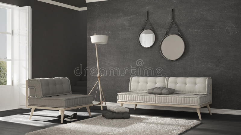 Download Scandinavian Living Room With Couch And Soft Carpet, Minimalist  Stock Illustration   Illustration Of