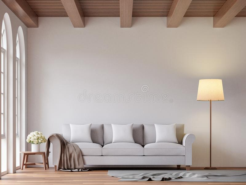 Scandinavian living room 3d rendering image. The Rooms have wooden floors and ceilings with white walls and arch windows.The room is furnished with light gray vector illustration