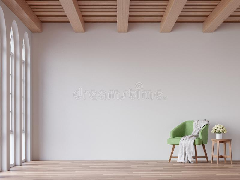 Scandinavian living room 3d rendering image. The Rooms have wooden floors and ceilings with white walls and arch windows.The room is furnished with green fabric stock illustration