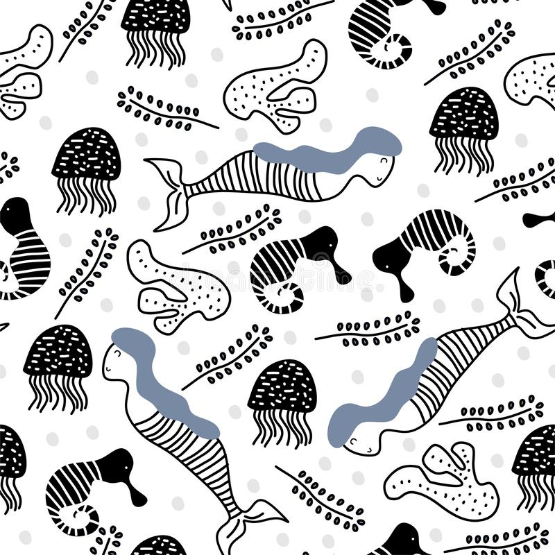 Scandinavian mermaid seamless pattern funny drawing vector illustration