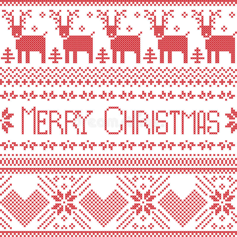 Scandinavian merry christmas sign inspired by nordic pattern in cross stitch with reindeer, snowflake, tree, stars, decorative fl stock illustration