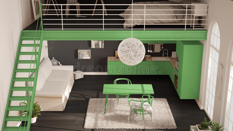 Scandinavian Minimalist Loft One Room Apartment With Green Kitc Stock Illustration