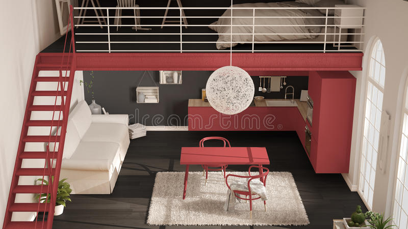 Scandinavian minimalist loft, one-room apartment with red kitchen, living and bedroom, top view, classic interior design royalty free illustration