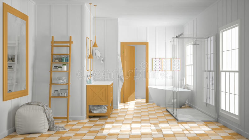 Download Scandinavian Minimalist White And Orange Bathroom Shower Batht Stock Image