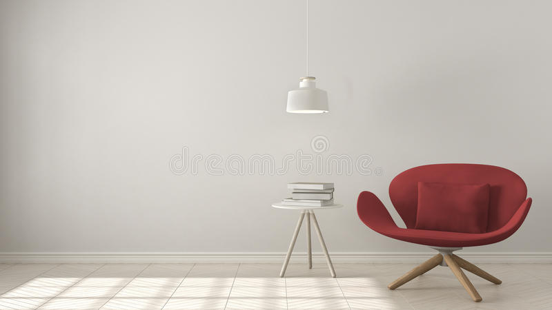 Scandinavian minimalistic background, red armchair with table an royalty free stock photo
