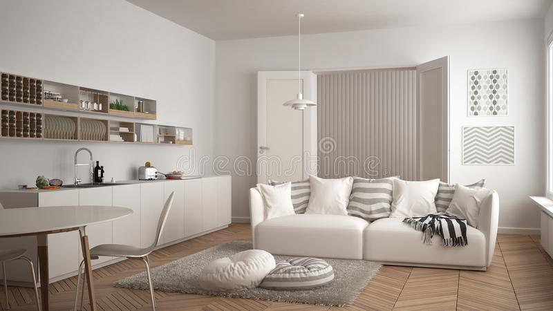 Scandinavian modern living room with kitchen, dining table, sofa and rug with pillows, minimalist white architecture interior desi. Gn royalty free illustration