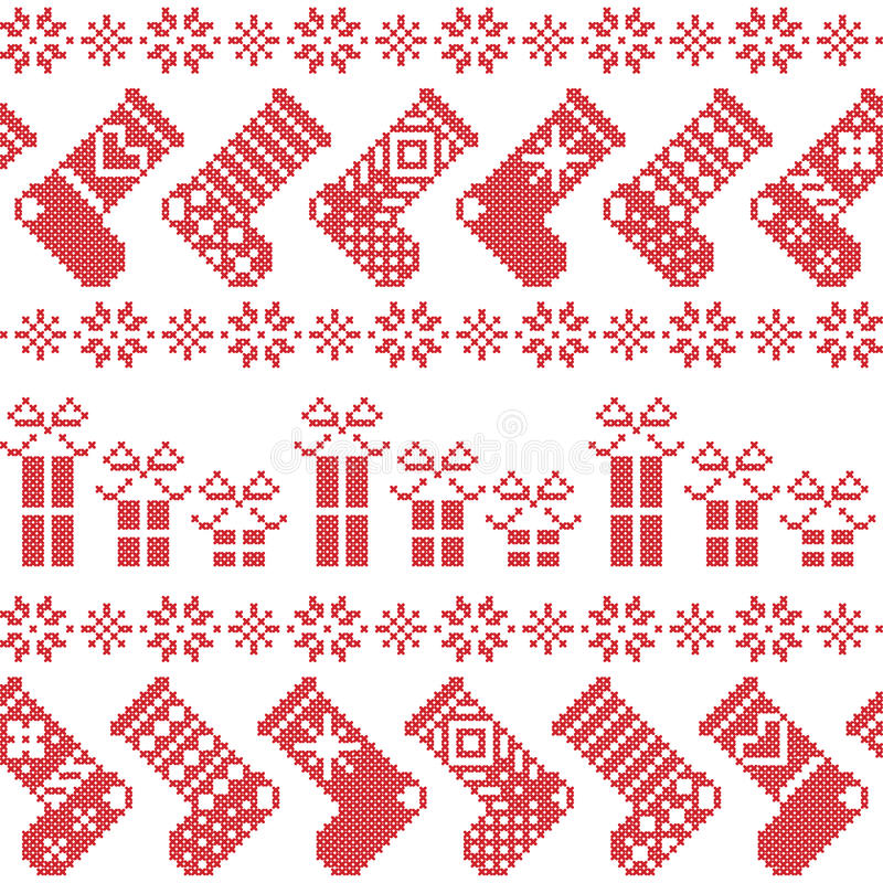 Scandinavian Nordic Christmas pattern with stockings, stars, snowflakes, presents in cross stitch in red royalty free illustration