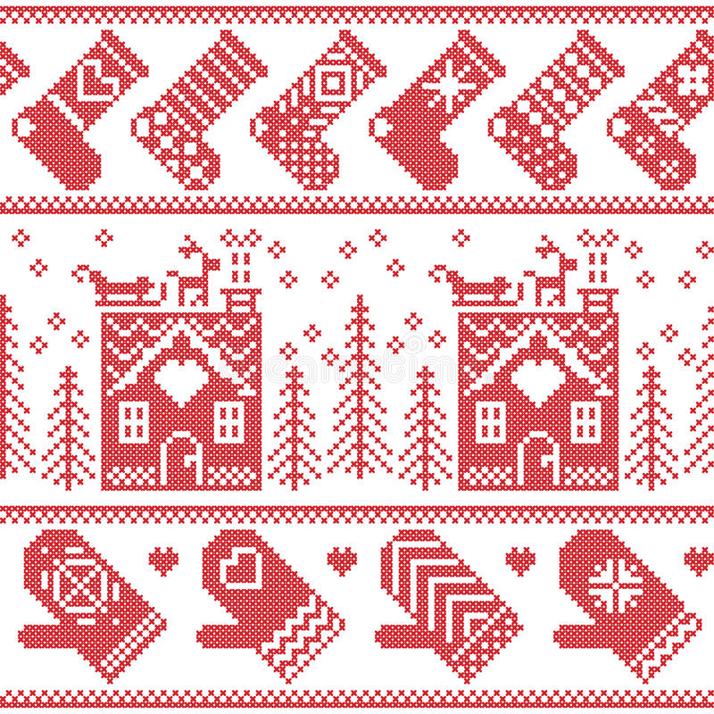 Scandinavian Nordic Christmas seamless pattern with ginger bread house, stockings, gloves, reindeer, snow, snowflakes, tree, Xmas. Ornaments in red cross stitch royalty free illustration