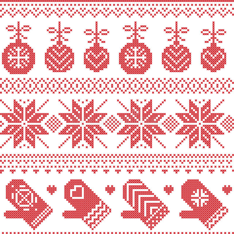 Scandinavian Nordic seamless Christmas pattern with Xmas baubles, gloves, stars, snowflakes, Xmas ornaments, snow element, hearts royalty free illustration