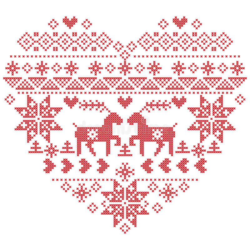 Scandinavian Nordic winter stitch, knitting christmas pattern in in heart shape shape including snowflakes, christmas trees,rein stock illustration