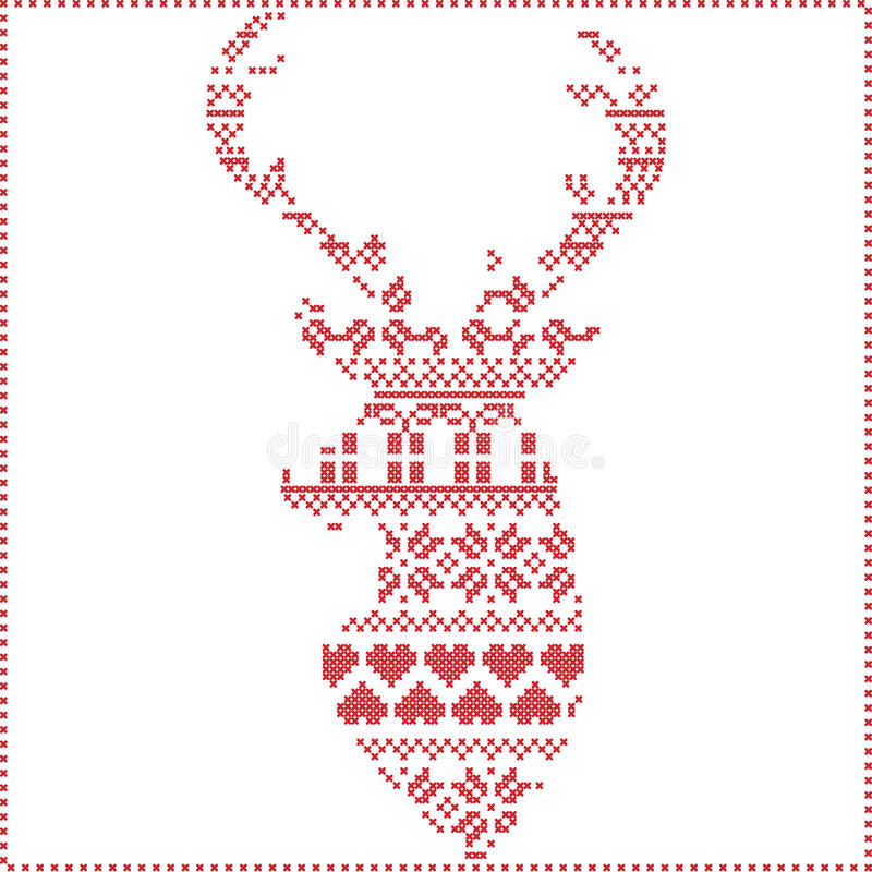 Scandinavian Nordic winter stitch, knitting christmas pattern in in reindeer shape shape including snowflakes, xmas trees vector illustration