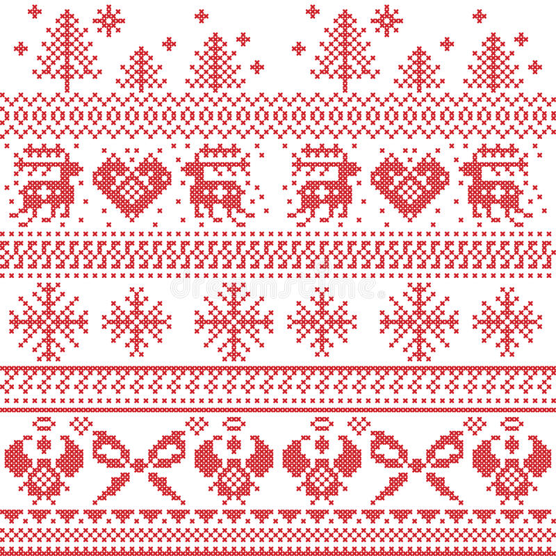 Scandinavian nordic xmas pattern with reindeer,rabbits, xmas trees, angels, bow, heart, in cross stitch. Graphic stock illustration