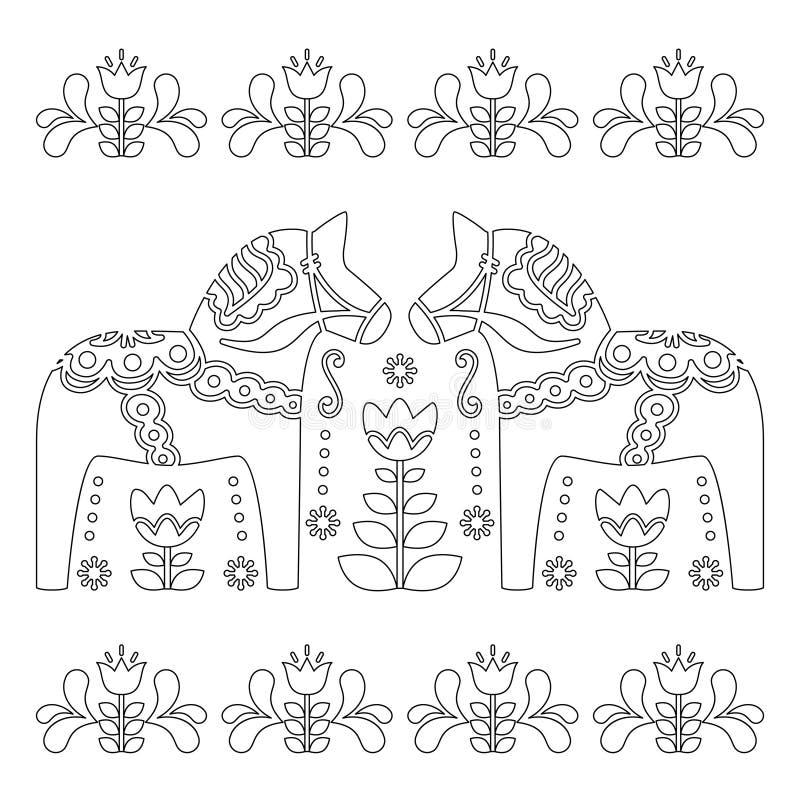 Download Scandinavian Outline Vector Design Swedish Dala Or Dalecarlian Horse Pattern Coloring Book For
