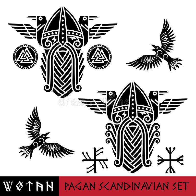 Scandinavian pagan set - God Wotan and two ravens in a circle of Norse runes. Illustration of Norse mythology royalty free illustration