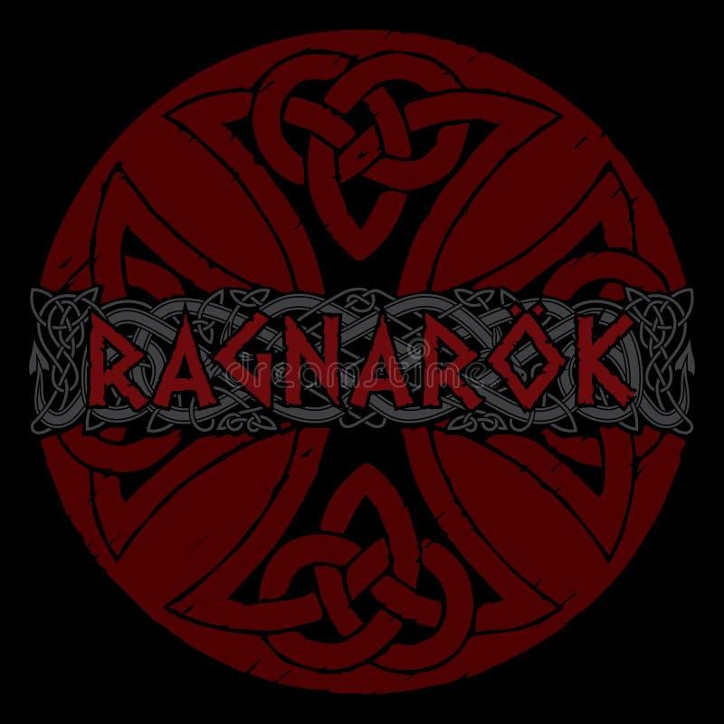 Scandinavian pattern - Ragnarok. Illustration of Norse mythology. Isolated on white, vector illustration vector illustration
