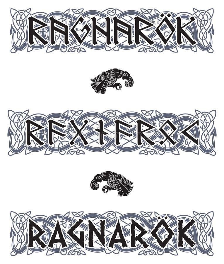 Scandinavian pattern and runic inscription. Ragnarok. Isolated on white, vector illustration stock illustration