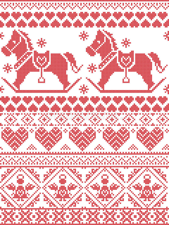 Scandinavian Printed Textile style and inspired by Norwegian Christmas and festive winter pattern with rocking horses angels heart vector illustration
