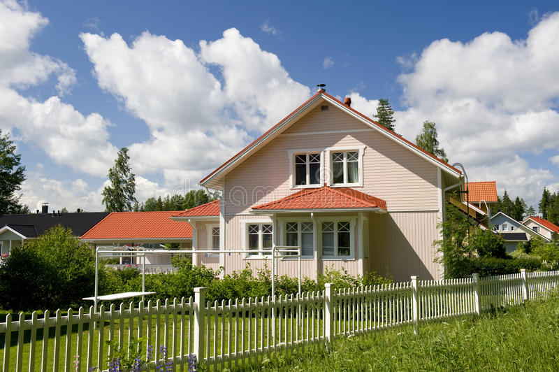 Scandinavian private cottage stock image