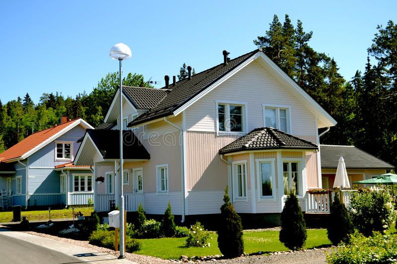 Scandinavian private house stock photography