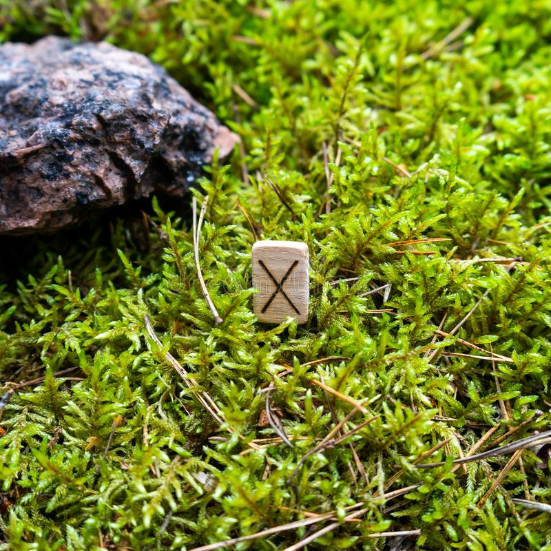 Scandinavian rune Gebo partnership, gift, on wet moss. The concept of predicting the future, an ancient way of divination stock photo