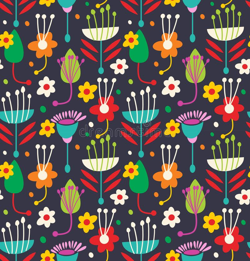 Scandinavian seamless floral pattern. Decorative background with geometric flowers and leaves. stock illustration