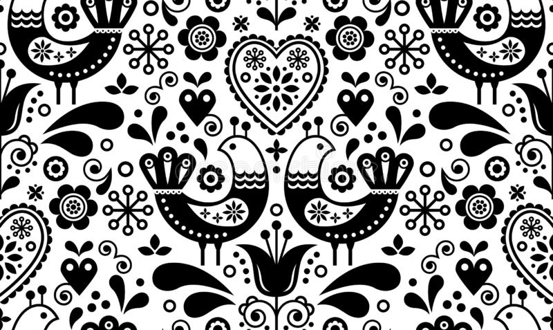 Scandinavian seamless folk art pattern with birds and flowers, Nordic floral design, retro background in black and white vector illustration