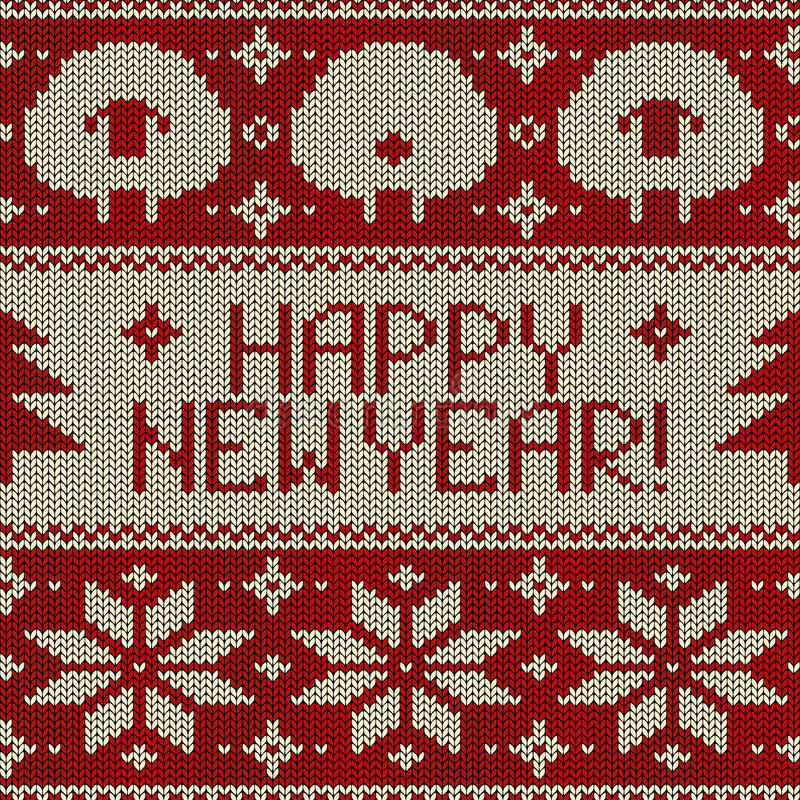 Scandinavian seamless knitted pattern. With funny cute sheep, snowflakes and greeting text Happy New Year stock illustration