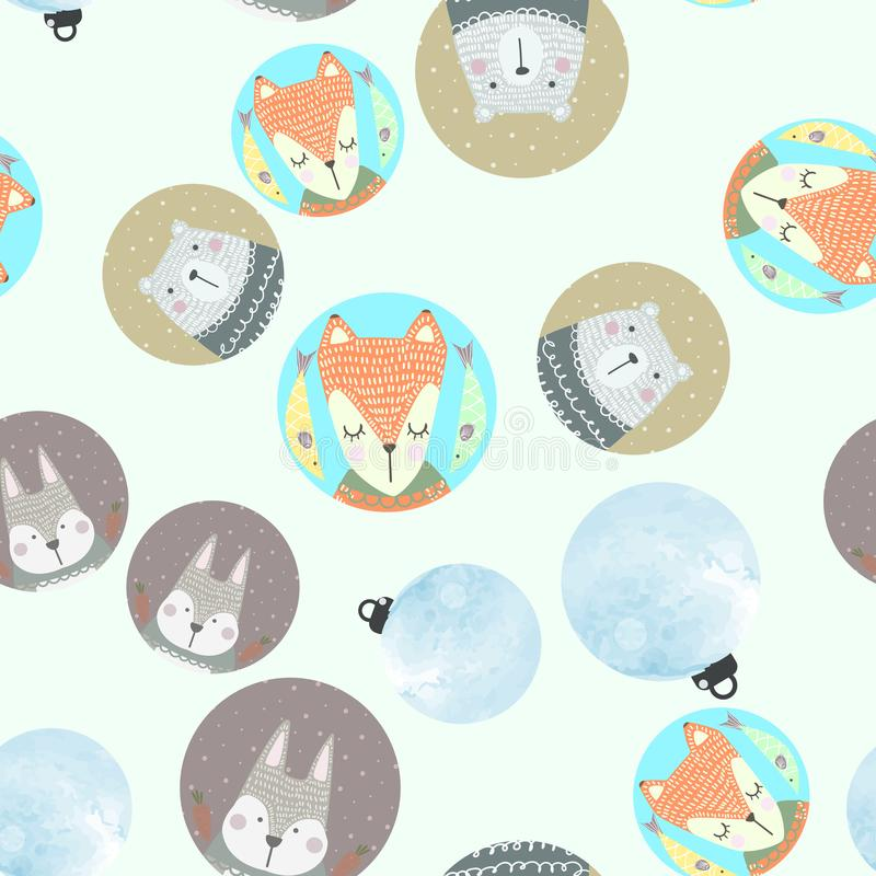 Scandinavian seamless pattern with gray rabbit, red fox, polar bear and watercolor Christmas balls. vector illustration