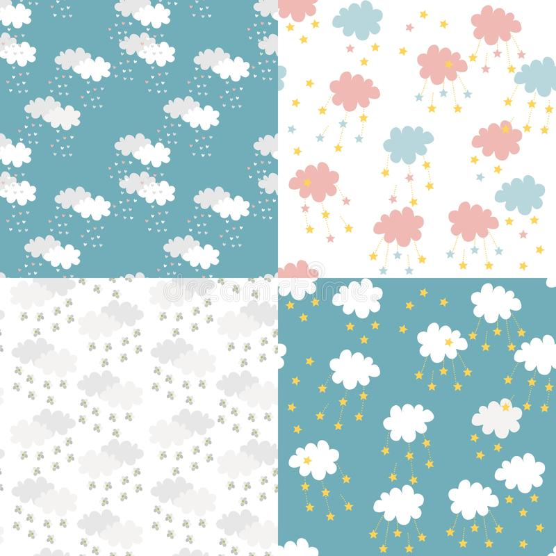 Scandinavian seamless pattern set. Newborn print for fabric. Kids background with clouds, hearts, stars and flowers. vector illustration