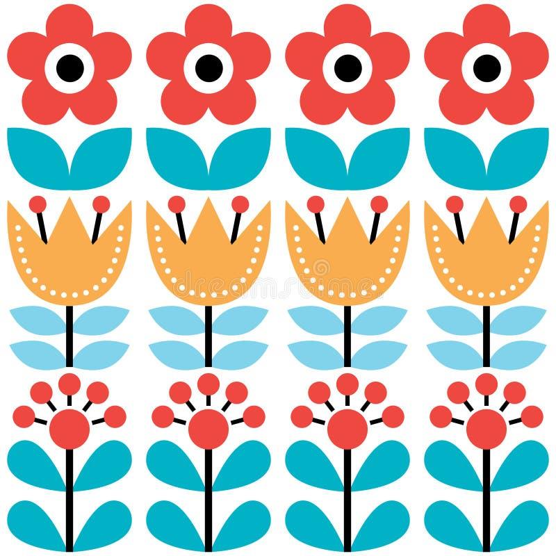 Scandinavian seamless pattern, Swedish folk art design, retro floral background stock illustration