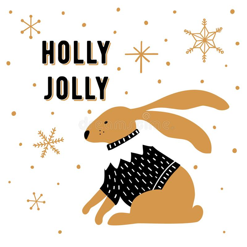 Scandinavian style Christmas greeting card. Cute hand drawn rabbit and phrase Holly Jolly. vector illustration