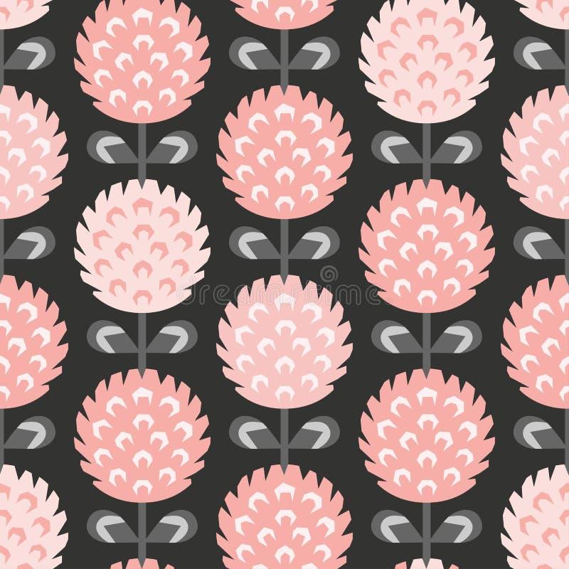 Scandinavian style clover vector pattern light red royalty free stock photos