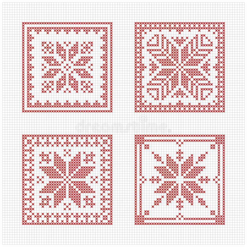 Scandinavian style cross stitch pattern vector illustration