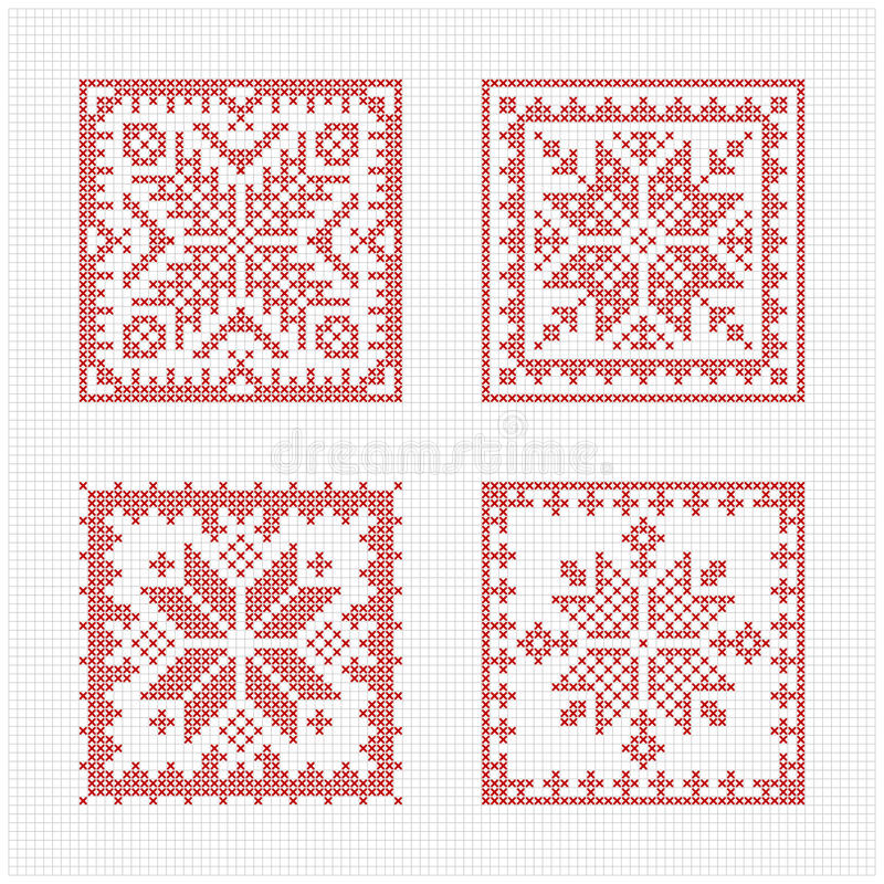 Scandinavian style cross stitch pattern royalty free illustration