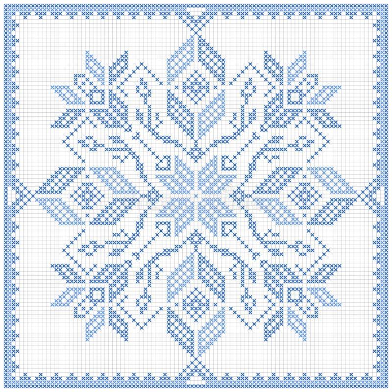 Scandinavian style cross stitch pattern stock illustration