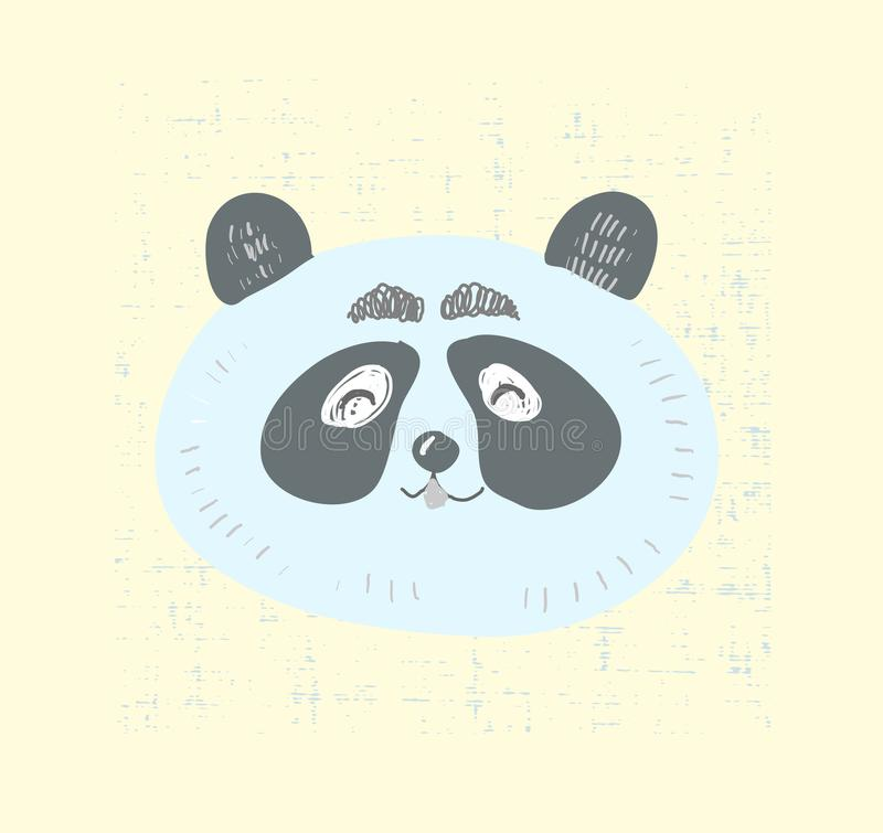 Scandinavian style cute panda face with smile vector illustration.T shirt graphic print cartoon kid style animal stock illustration