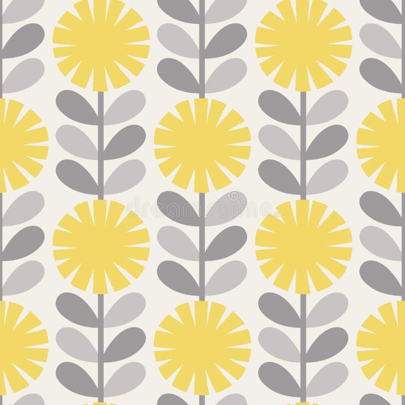 Scandinavian style dandelions vector gray and yellow pattern stock image