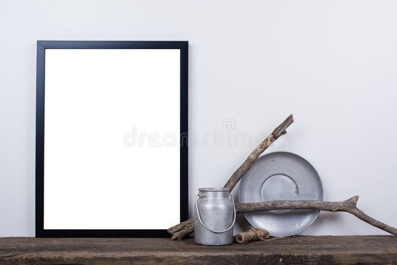 Scandinavian style empty photo frame mock up. Minimal home decor stock photos