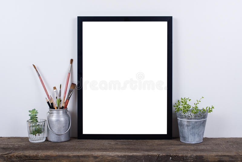 Download Scandinavian Style Empty Photo Frame Mock Up. Minimal Home Decor  Stock Photo   Image