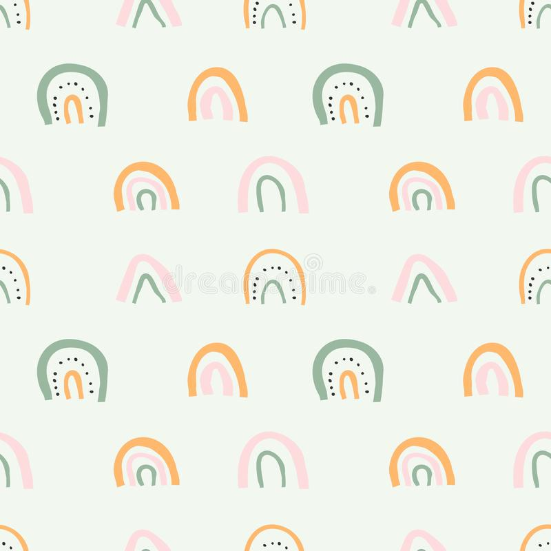 Scandinavian style illustrations with rainbows for baby room wallpaper decoration. Seamless vector pattern ornament in pastel colo. Rs. Contemporary abstraction stock illustration